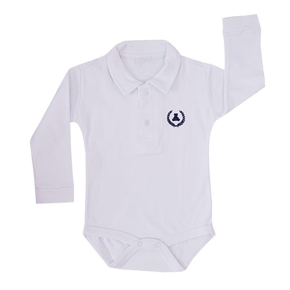 Body bebê gola polo manga longa - Branco