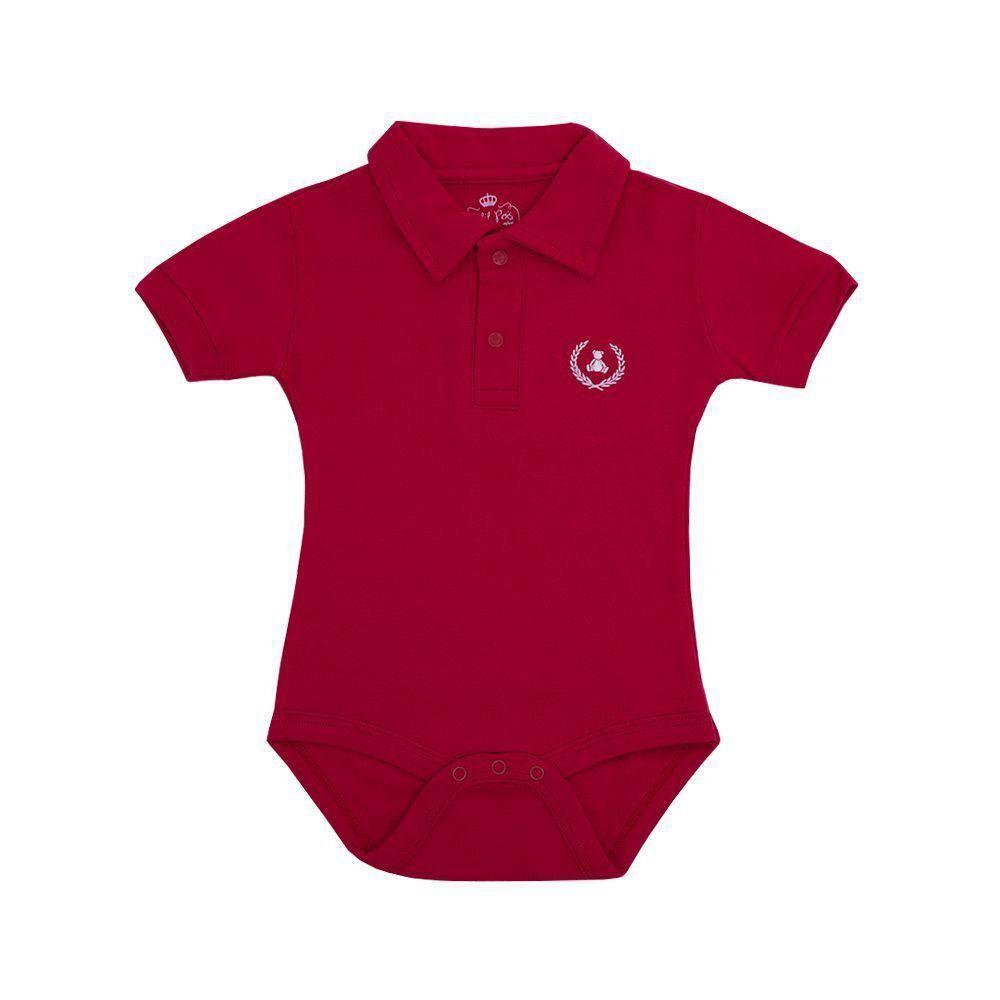 Body bebê gola polo manga curta - Vermelho