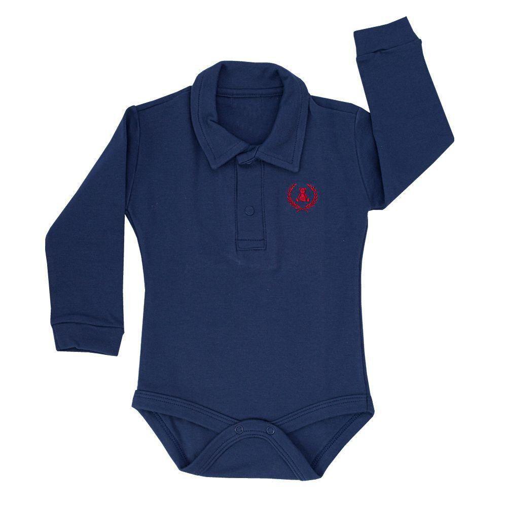 fe7331bf3 Body bebê gola polo manga longa - Azul marinho Venha conhecer nossa ...
