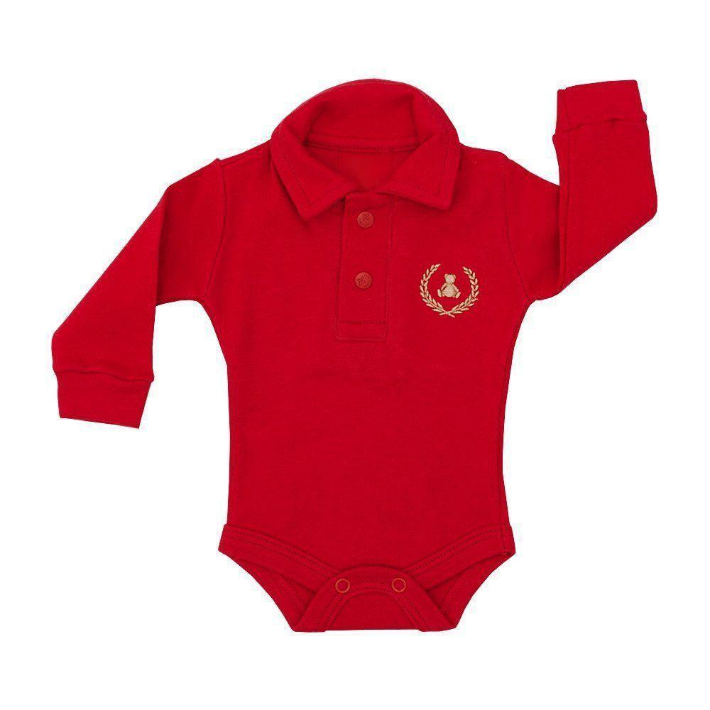 Body bebê gola polo manga longa - Vermelho - Petit Pois Enfant f8a7fa6e76ab