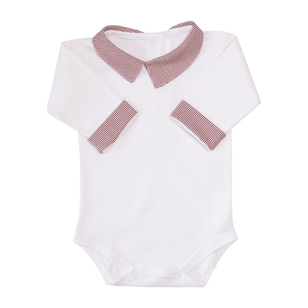 Body bebê gola quadradinho - Off white e vermelho