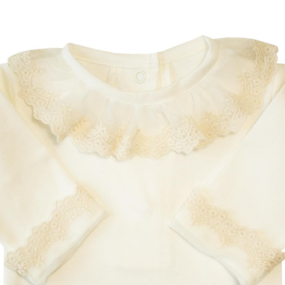 Body bebê gola tule bordado com punhos - Natural