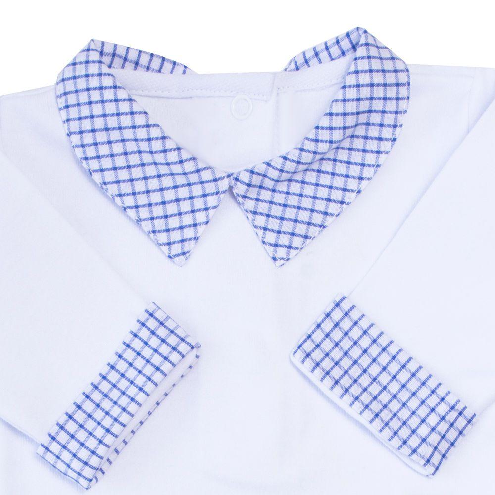 Body bebê gola xadrez - Branco e azul bebê