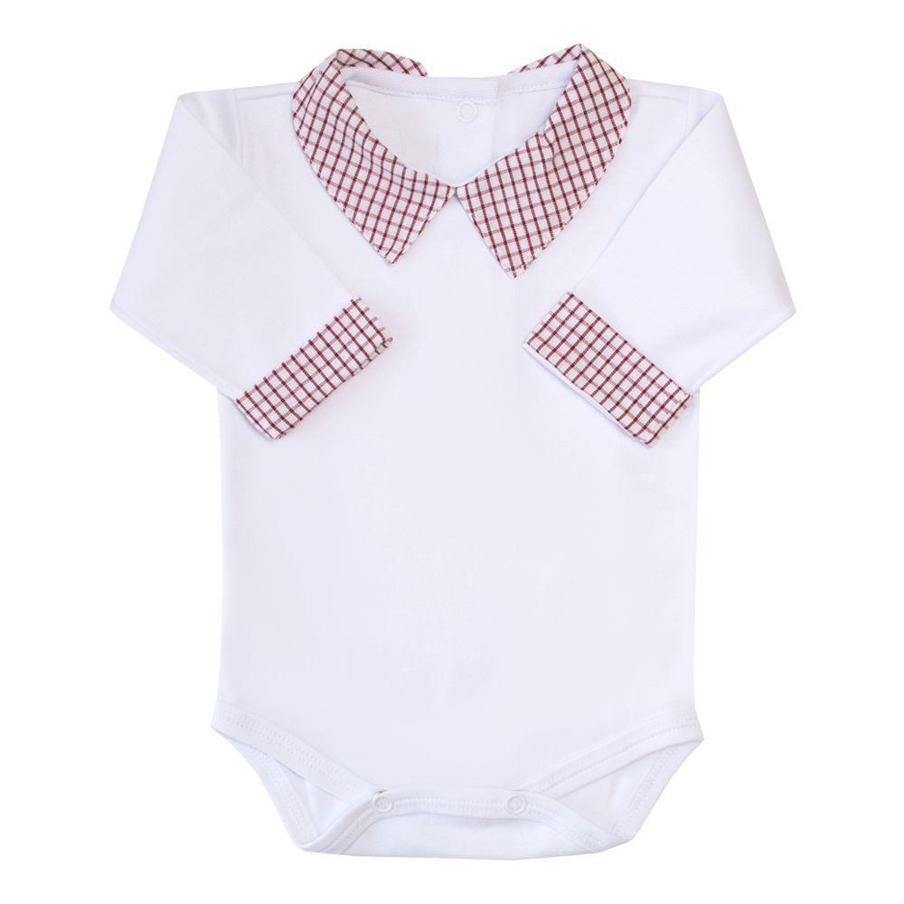 Body bebê gola xadrez - Branco e vermelho