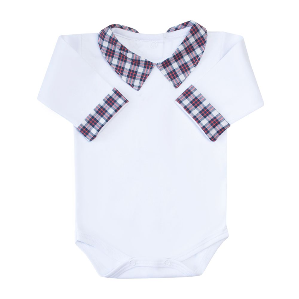 Body bebê gola xadrez - Branco, vermelho e azul marinho