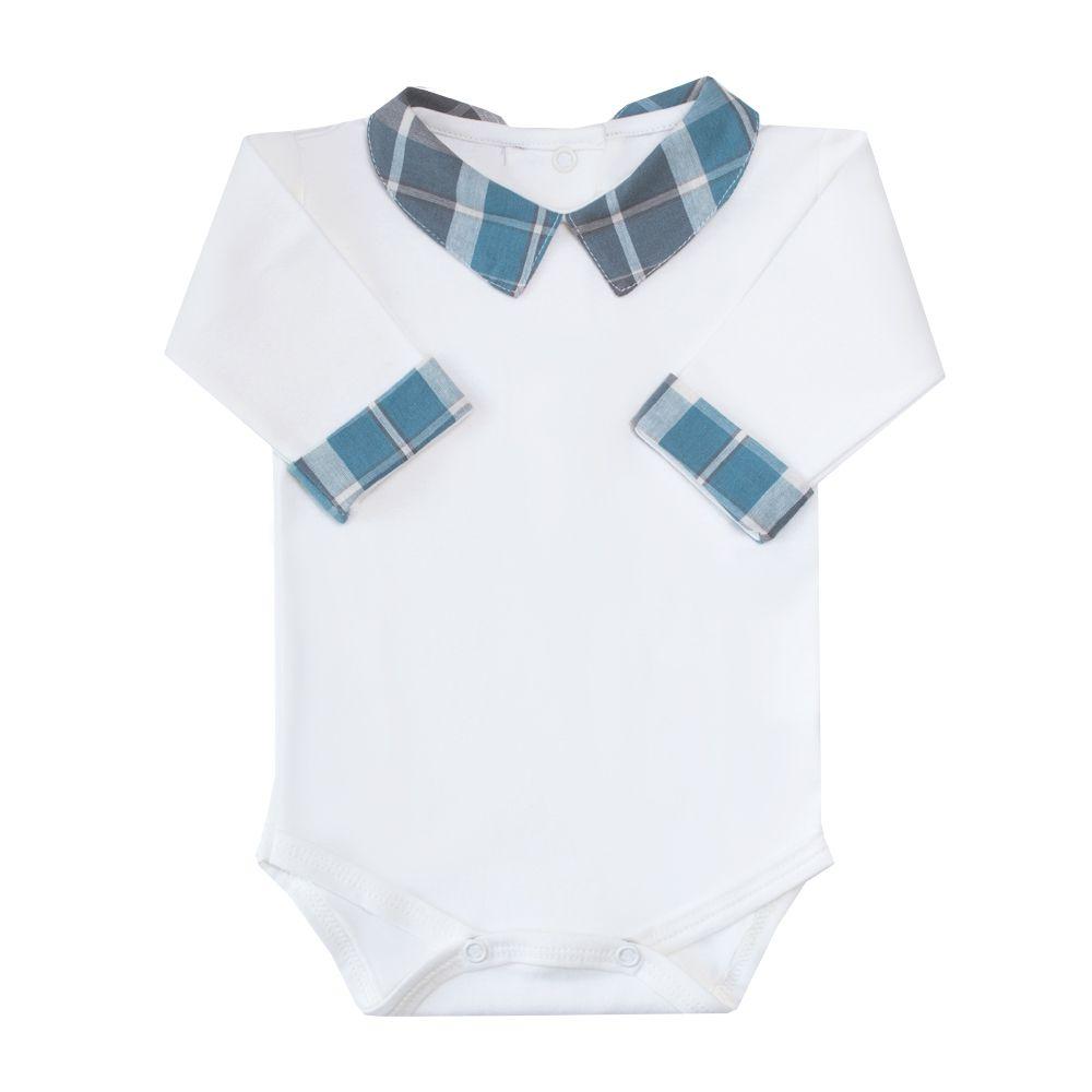 Body bebê gola xadrez - Off white e verde