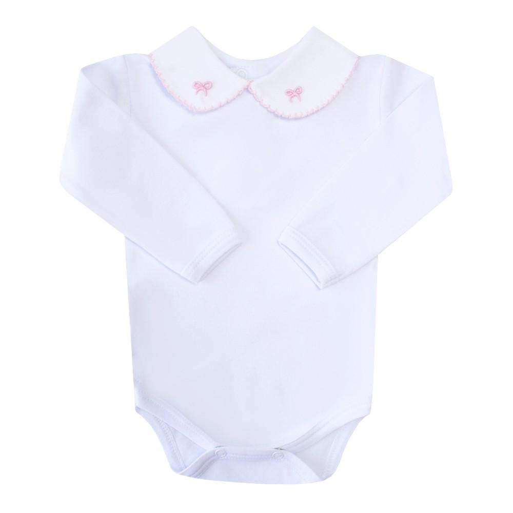 Body bebê lacinho - Branco e rosa