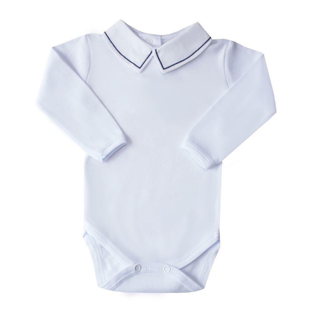 Body bebê linha - Branco e azul marinho