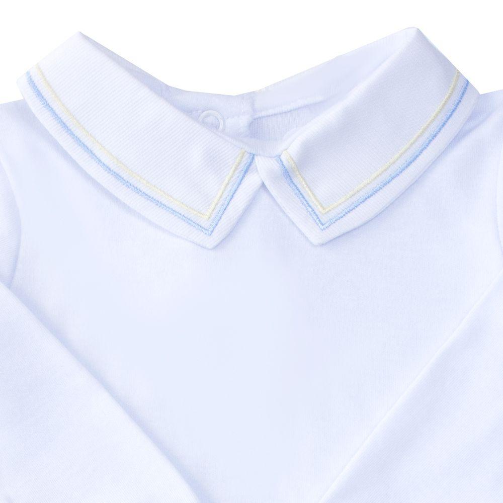 Body bebê linha dupla - Branco, azul bebê e amarelo