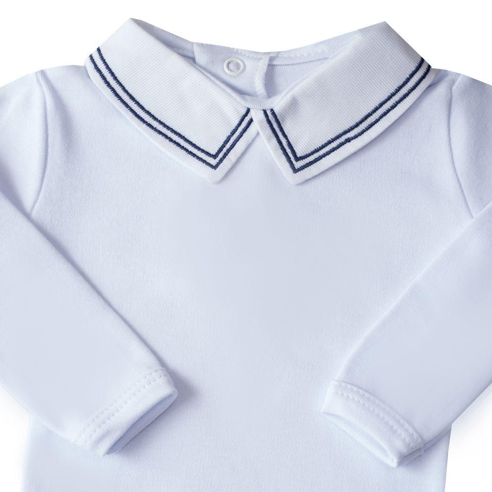Body bebê linha dupla - Branco e azul marinho
