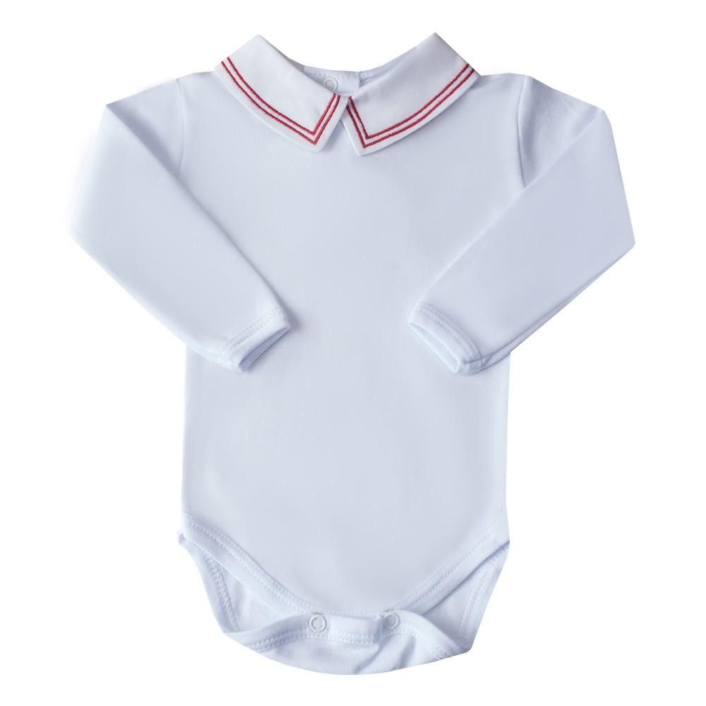 Body bebê linha dupla - Branco e vermelho