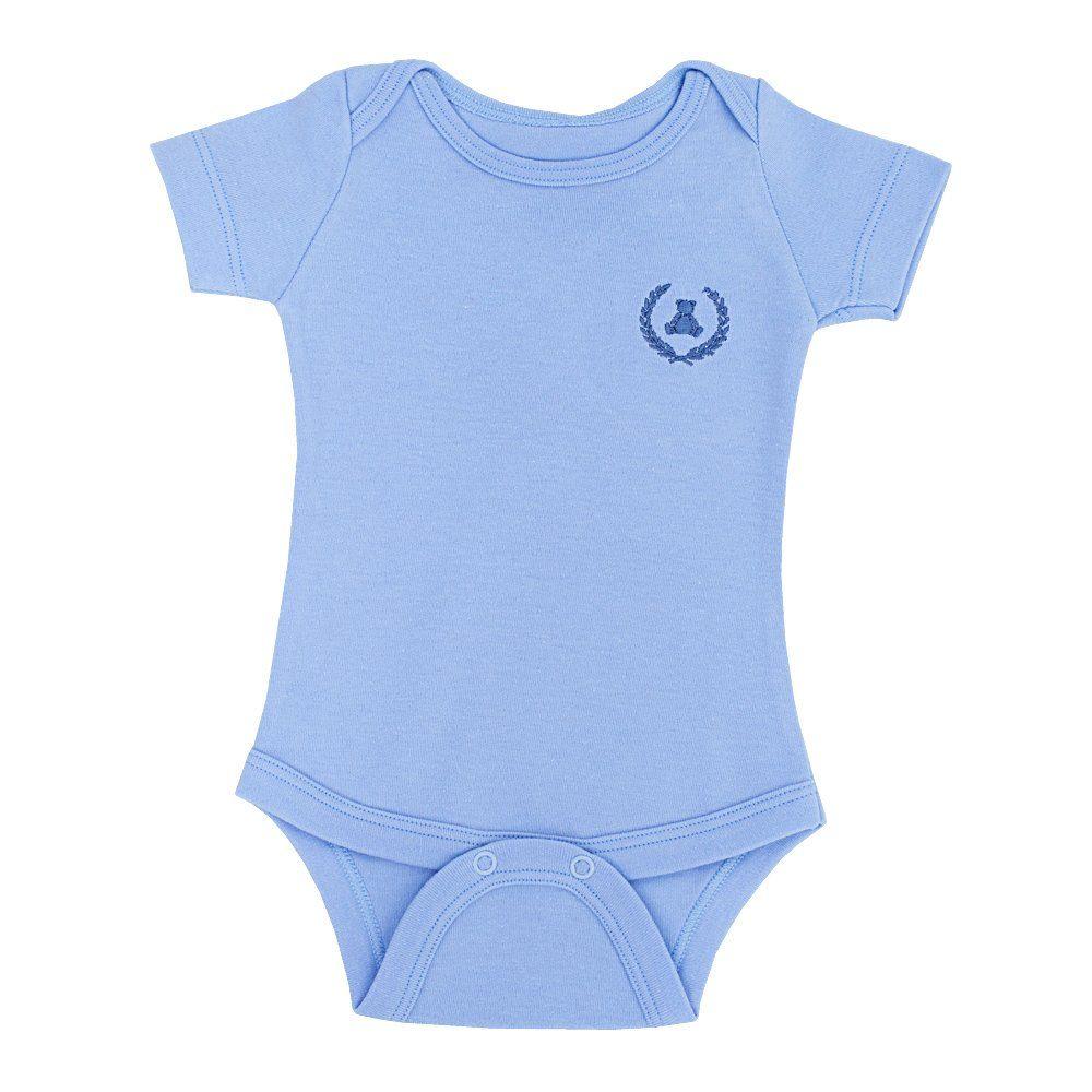 Body bebê manga curta - Azul bebê