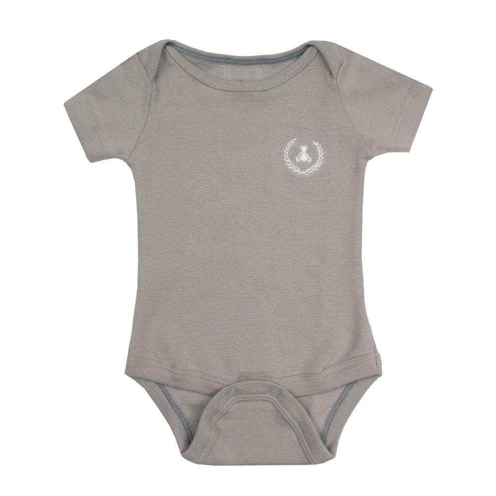 Body bebê manga curta - Cinza