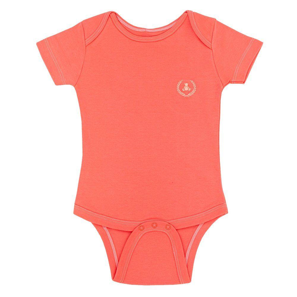 Body bebê manga curta - Coral