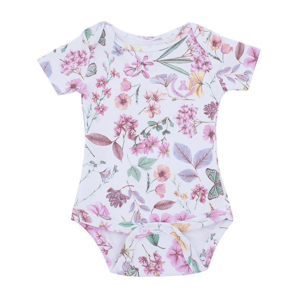 Body bebê manga curta floral - Rosa bebê e branco