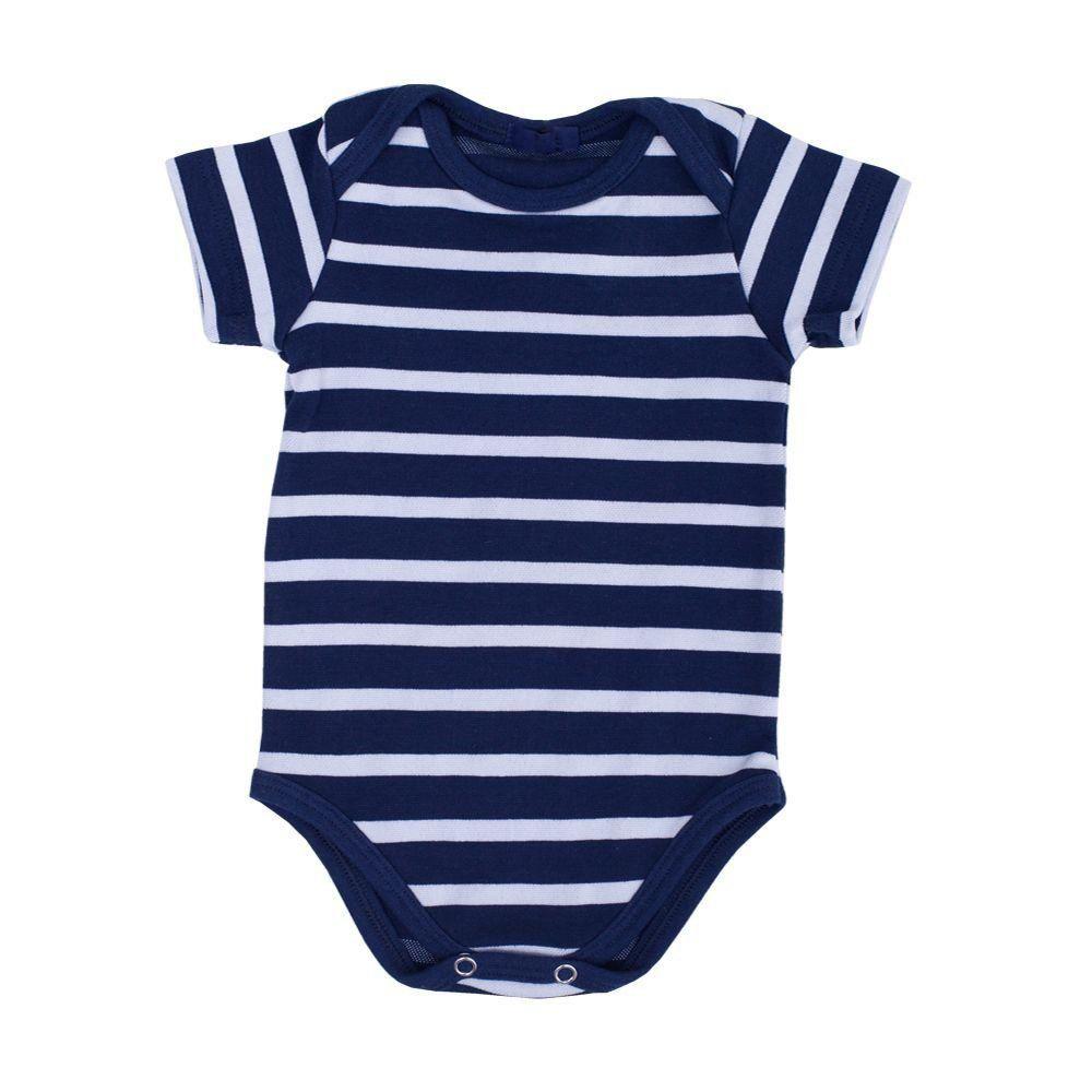 Body bebê manga curta listrado - Azul marinho/Branco