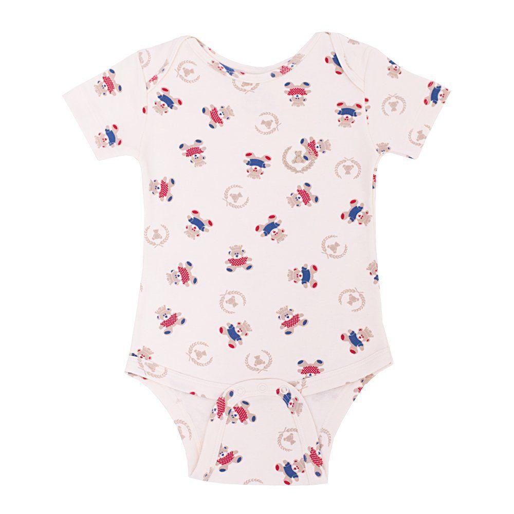 Body bebê manga curta ursinhos vermelho e azul - Off white
