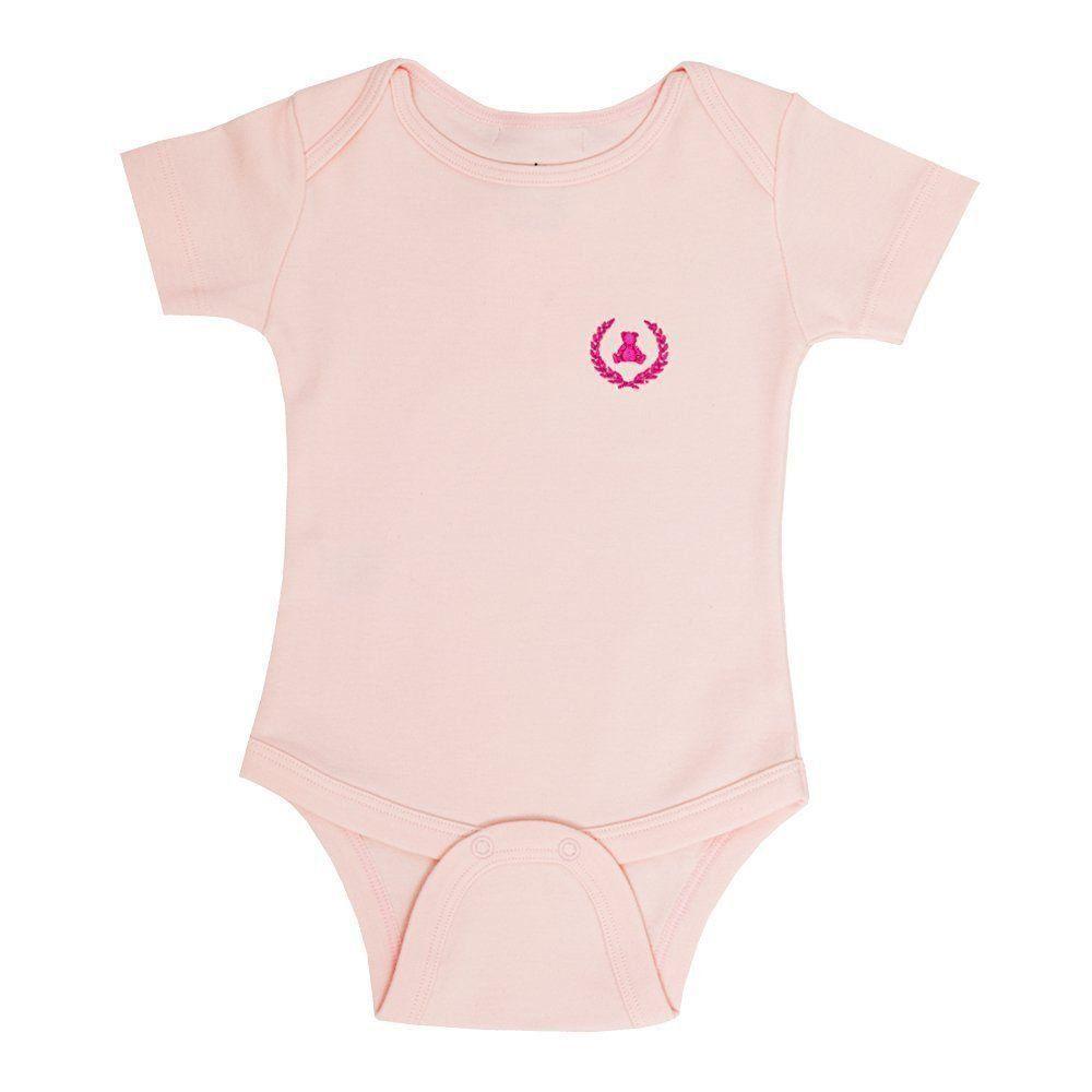 Body bebê manga curta - Rosa bebê