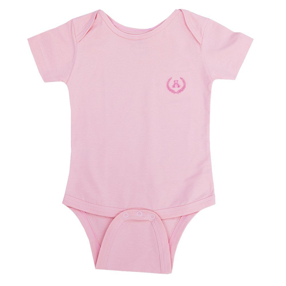 Body bebê manga curta - Rosa chá