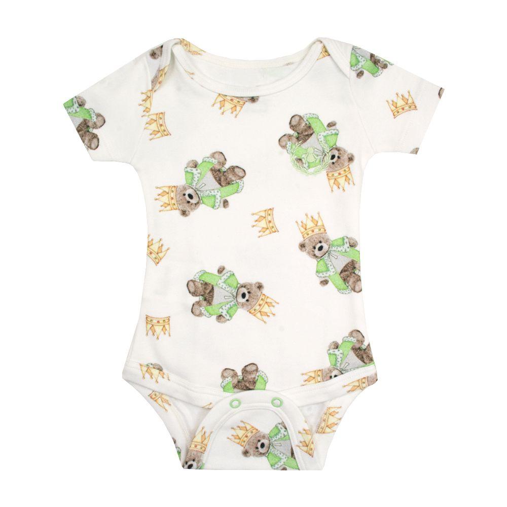 Body bebê manga curta ursinho - Branco e verde