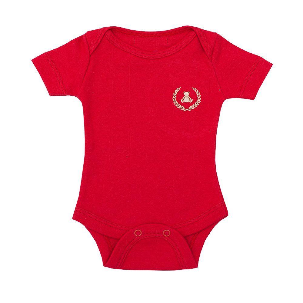 Body bebê manga curta - Vermelho