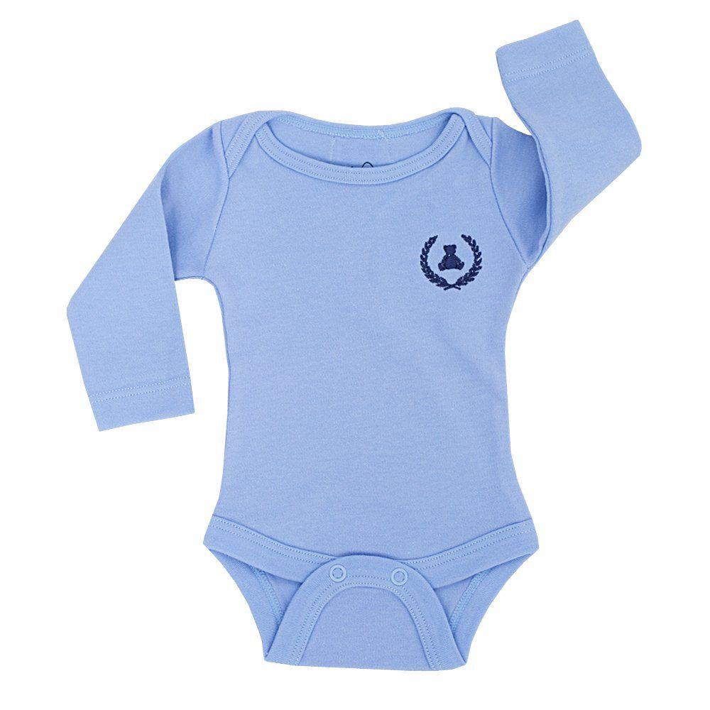 Body bebê manga longa - Azul bebê