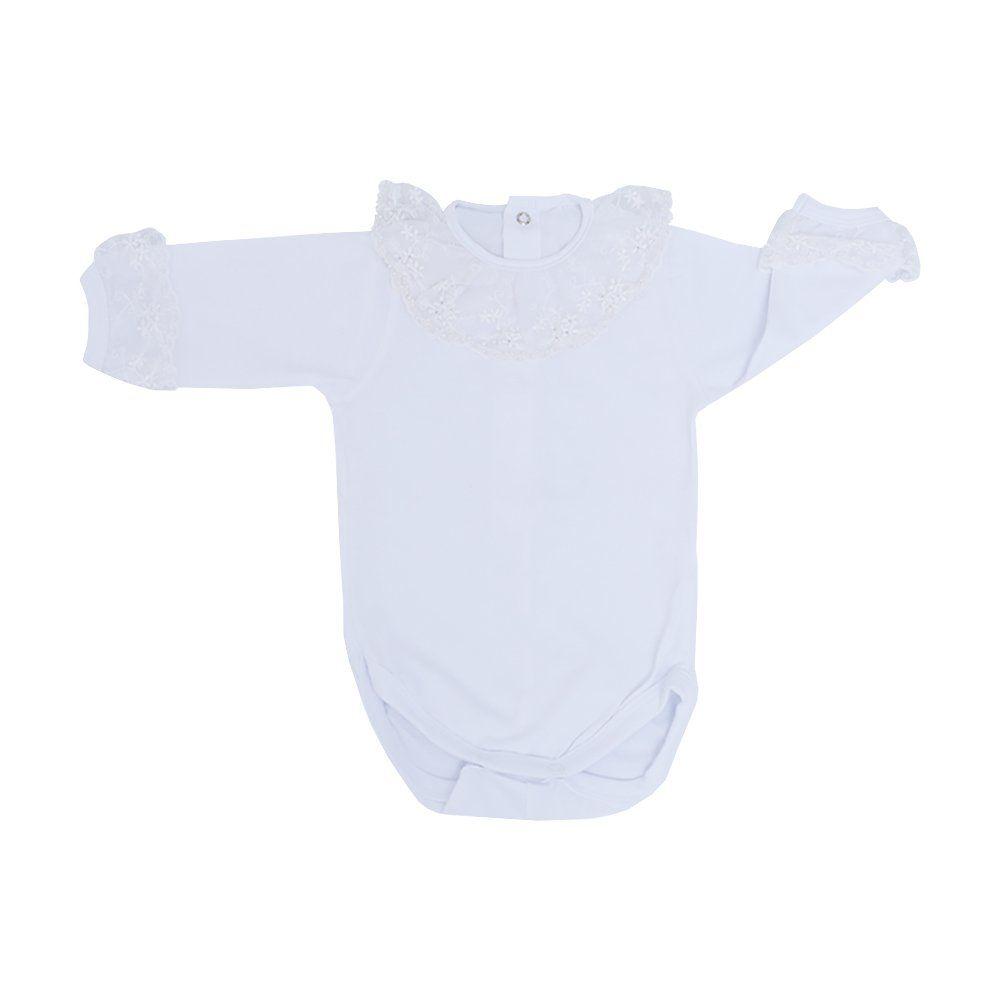 Body bebê manga longa bordado com renda e pérolas - Branco