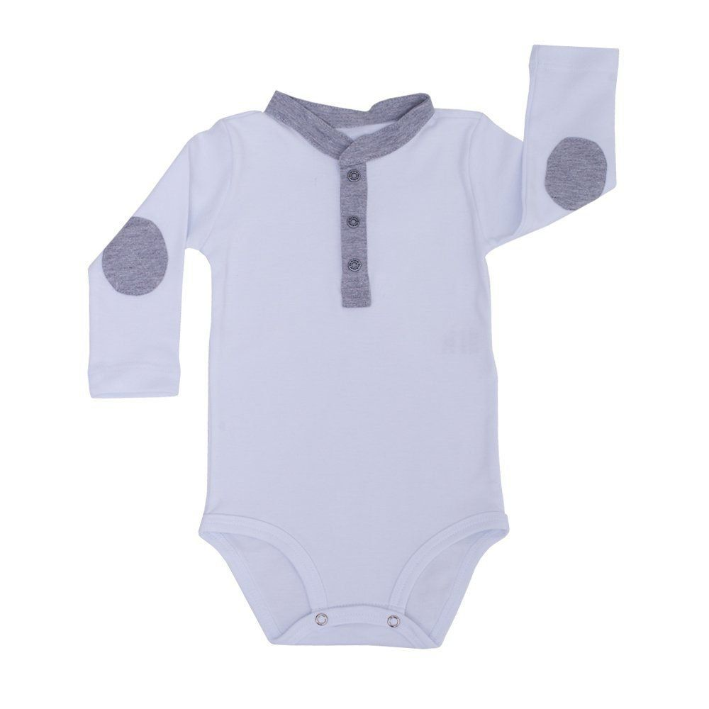 Body bebê manga longa com detalhe cinza - Branco