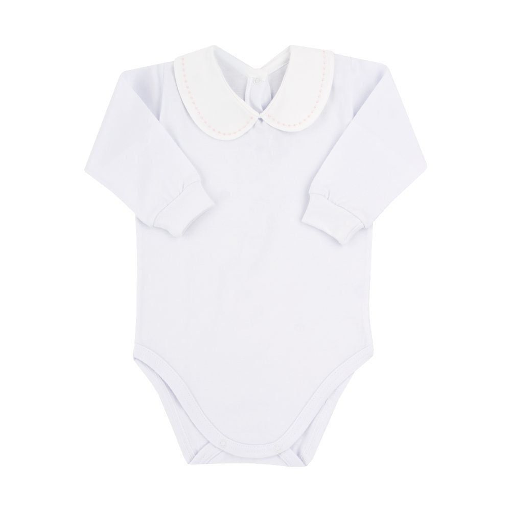 Body bebê manga longa com gola bordada - Branco