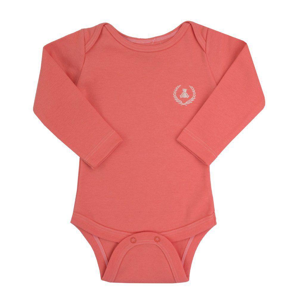 Body bebê manga longa - Coral