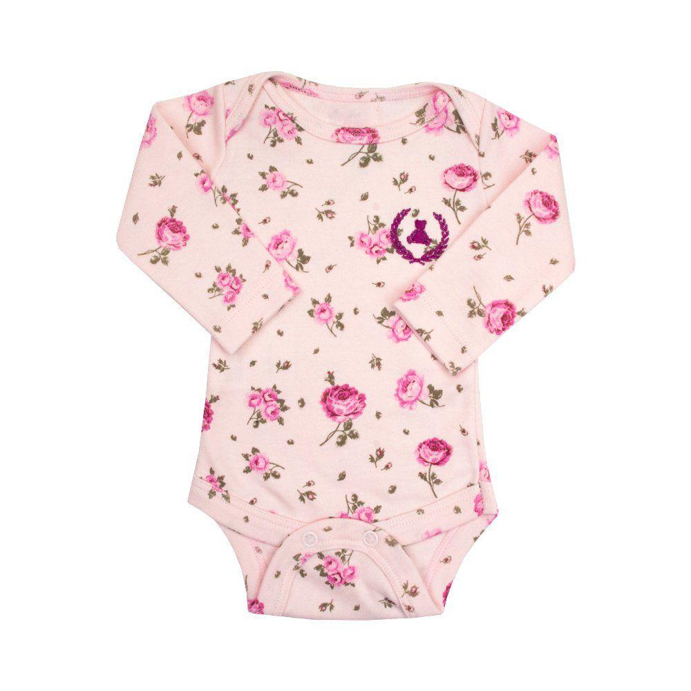 Body bebê manga longa floral - Rosa bebê