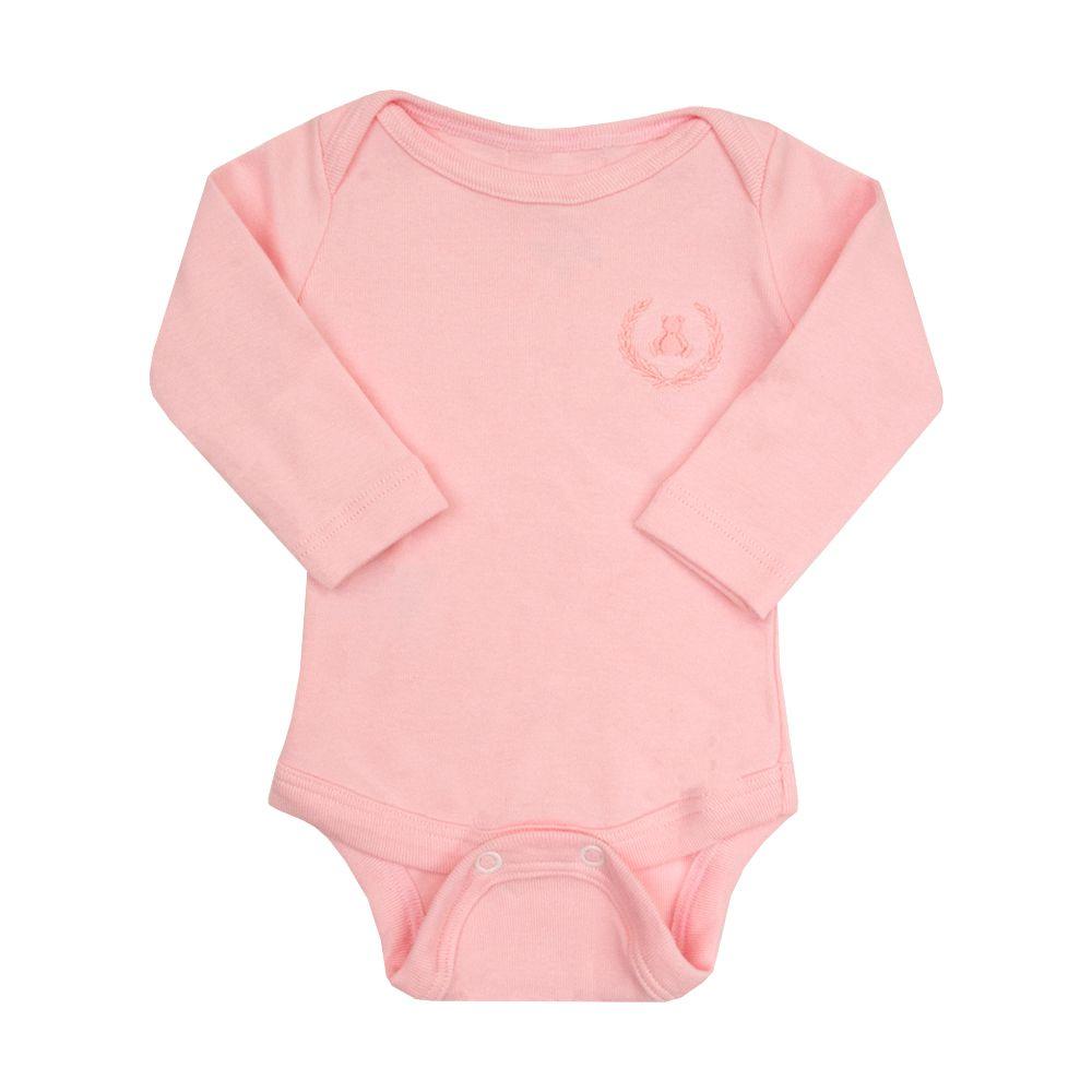 Body bebê manga longa - Rosa