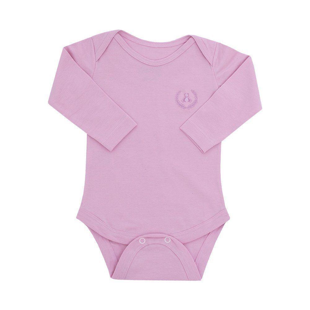 Body bebê manga longa - Rosa chá