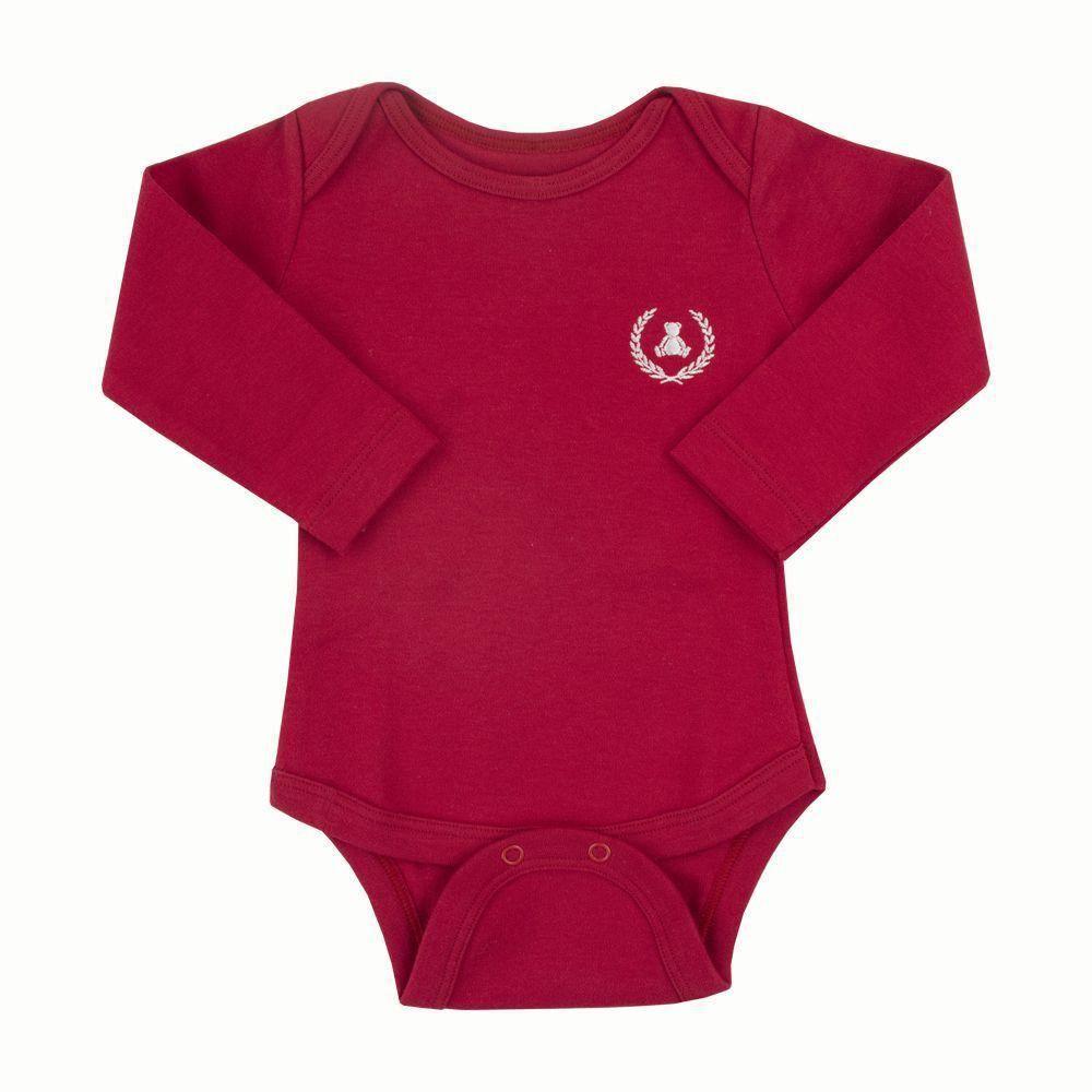 Body bebê manga longa - Vermelho