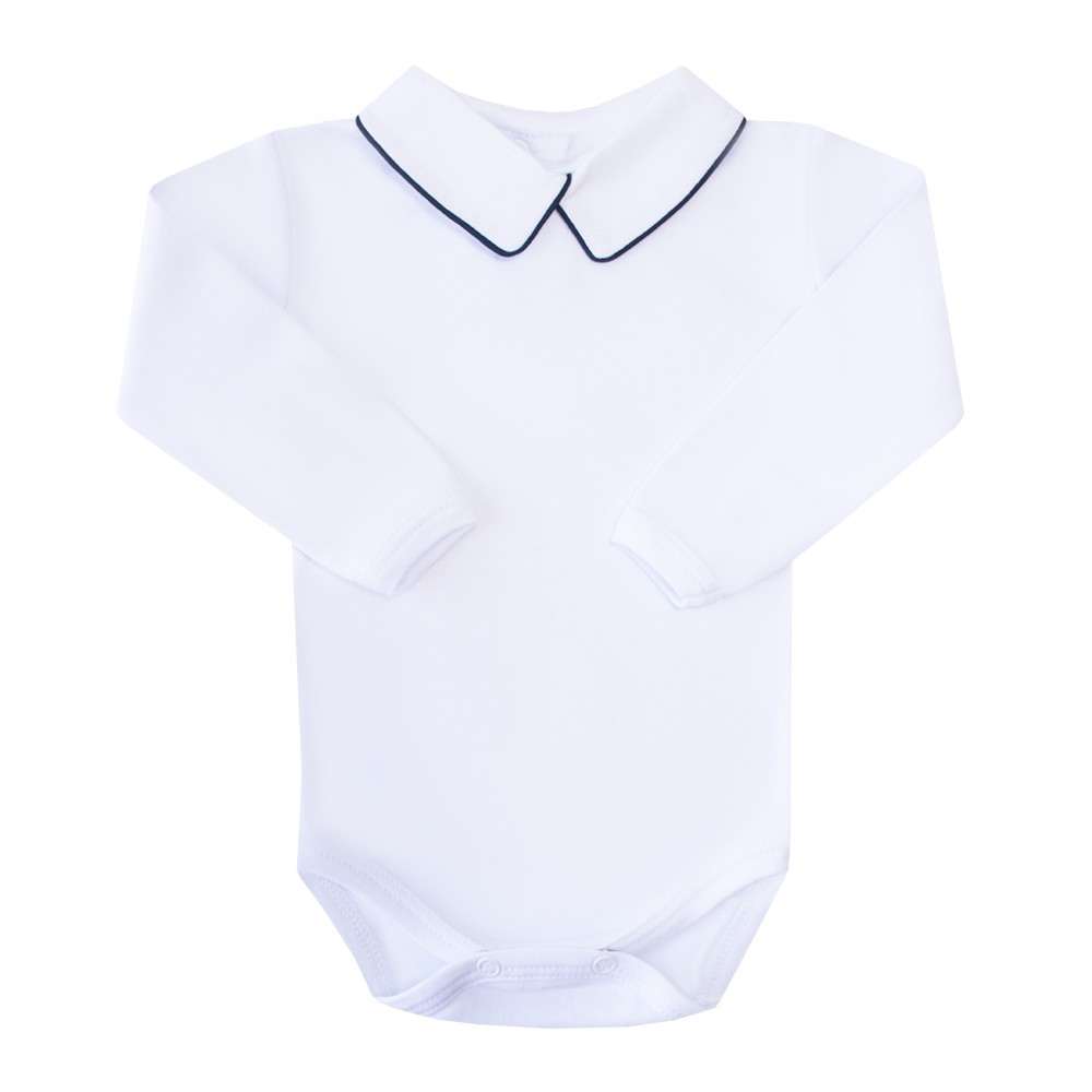 Body bebê masculino - Branco e azul marinho