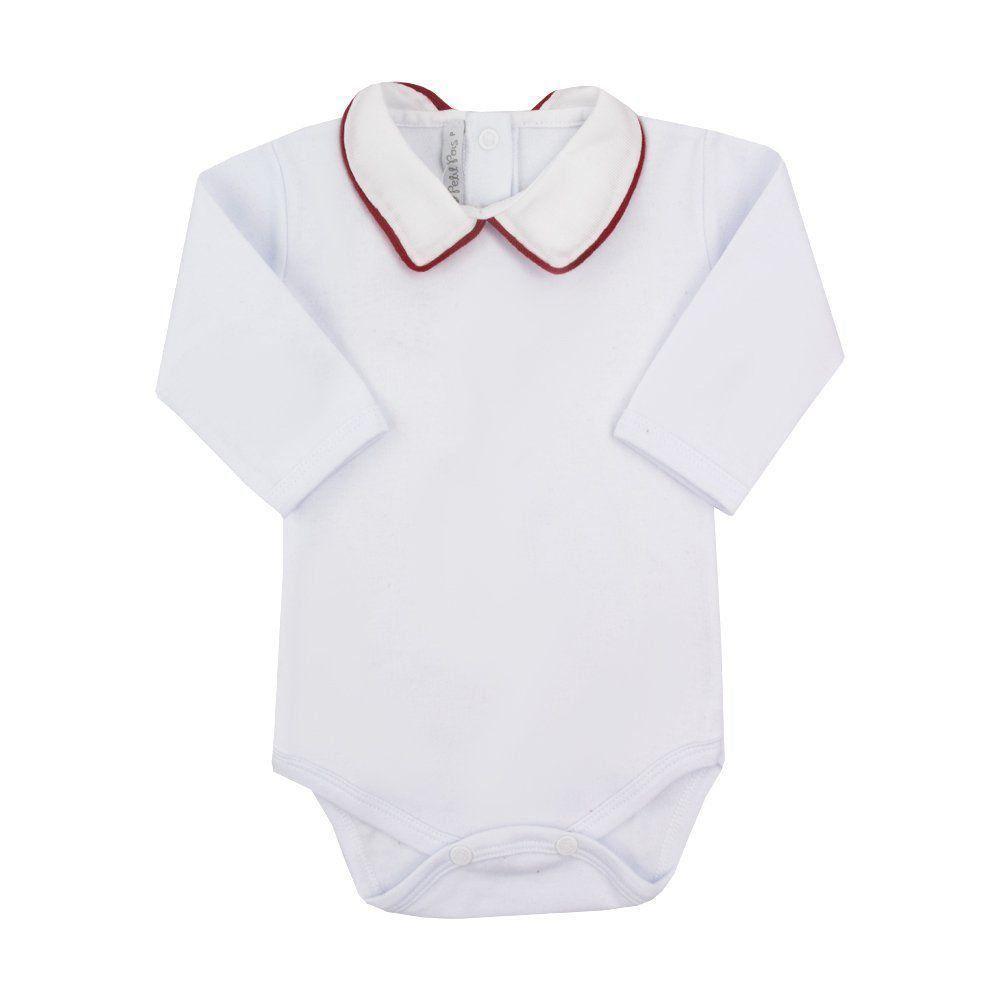 Body bebê masculino - Branco e vermelho