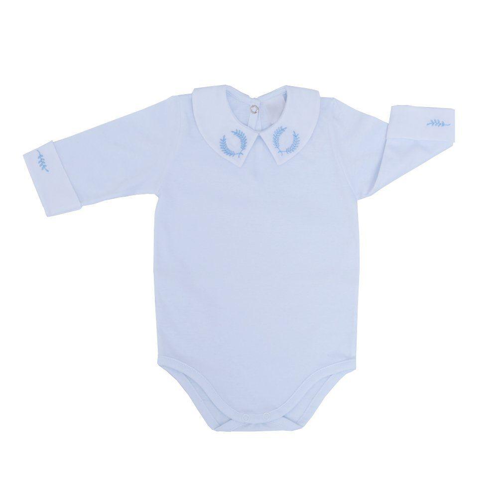 Body bebê masculino manga longa coroa de louros - Branco/Azul bebê