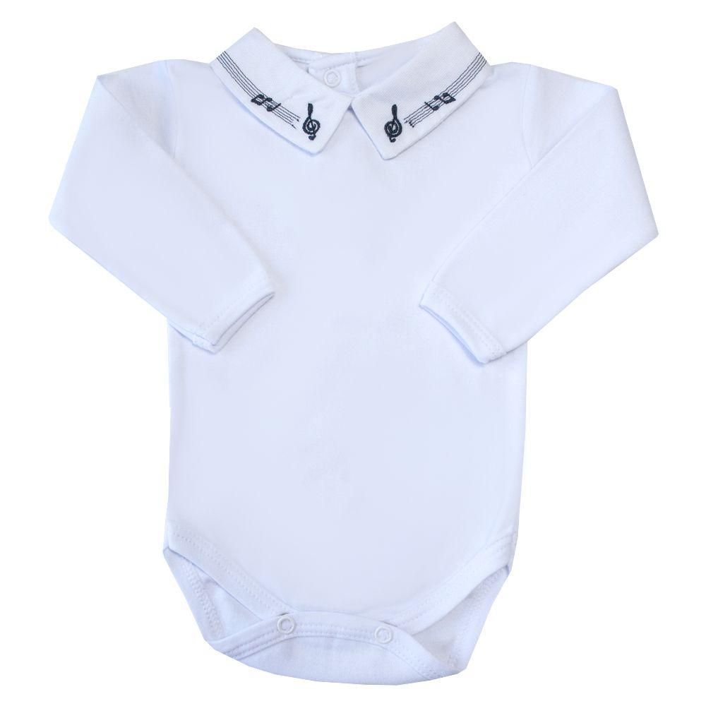 Body bebê notas musicais - Branco e azul marinho