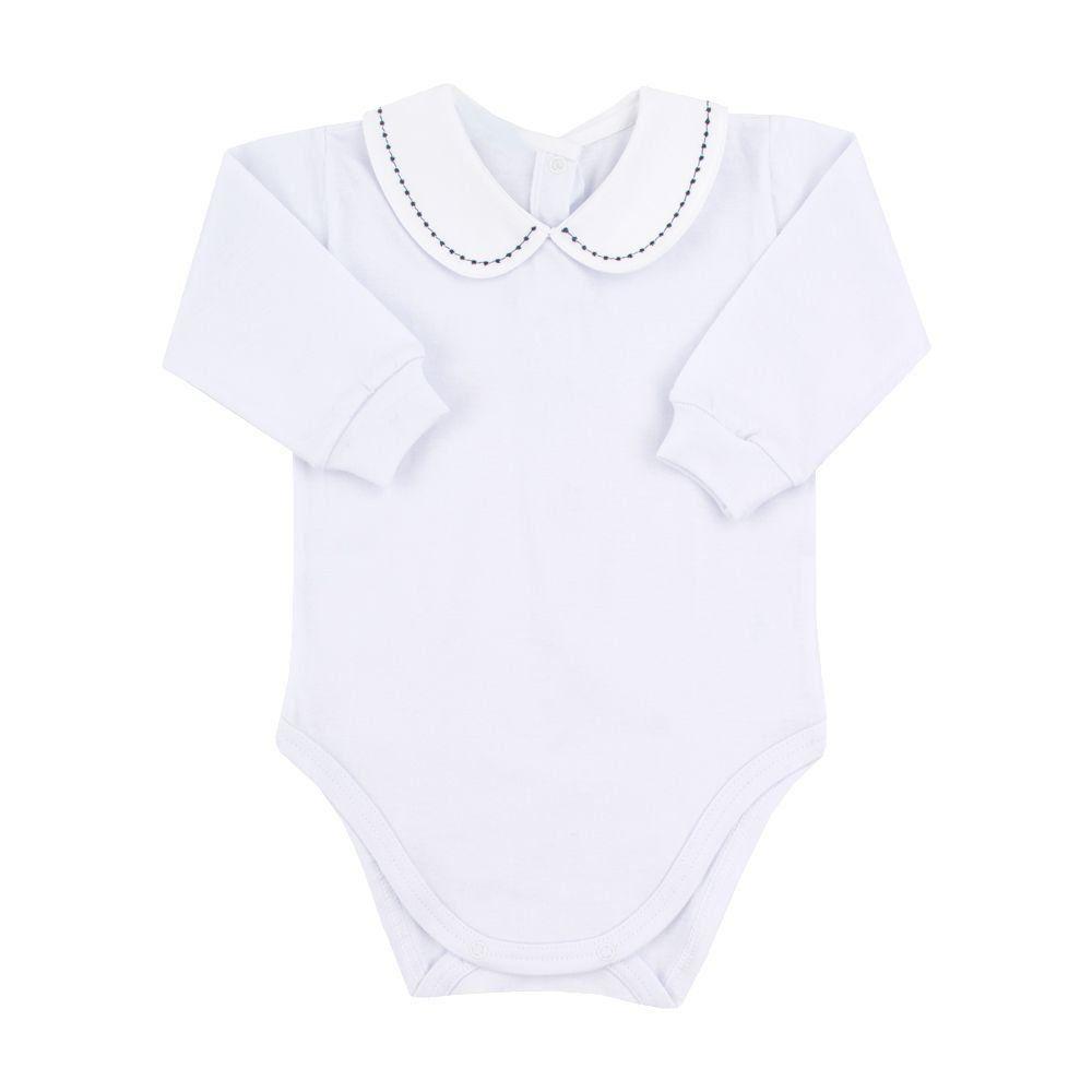 Body bebê pontinhos - Branco e azul marinho