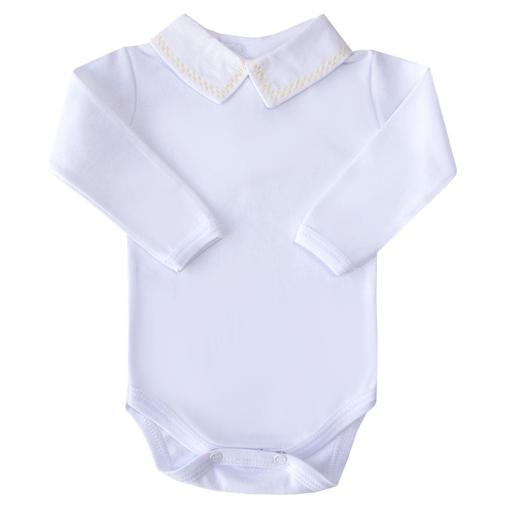 Body bebê quadradinho duplo - Branco e amarelo