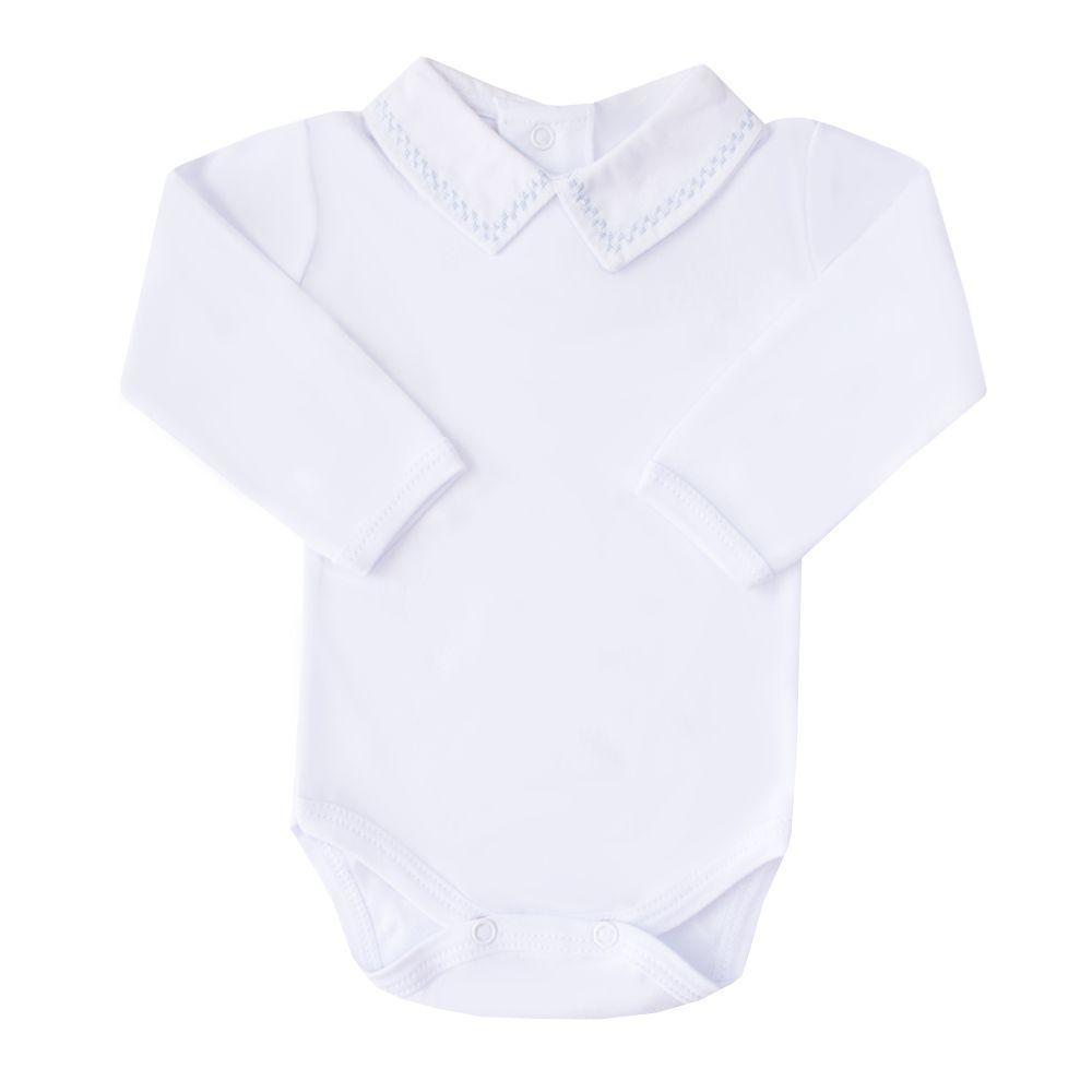 Body bebê quadradinho duplo - Branco e azul bebê