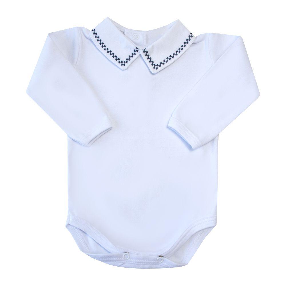 Body bebê quadradinho duplo - Branco e azul marinho