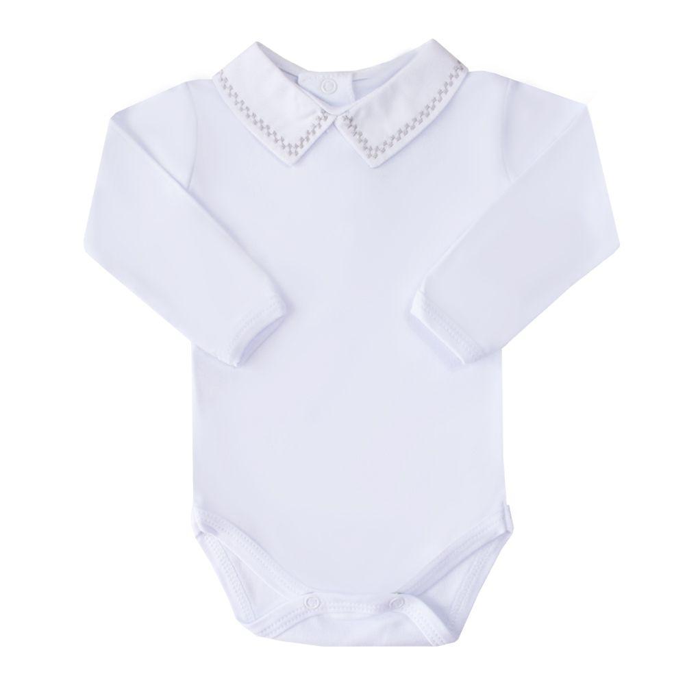 Body bebê quadradinho duplo - Branco e cinza
