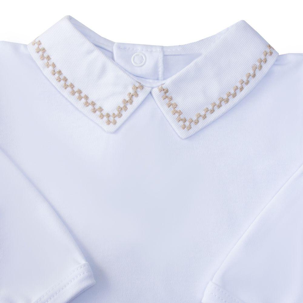 Body bebê quadradinho duplo - Branco e rolex