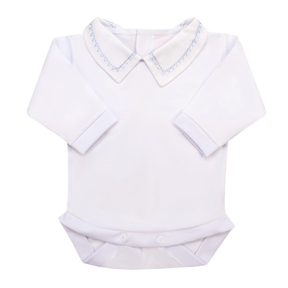 Body bebê triângulo - Branco e azul bebê