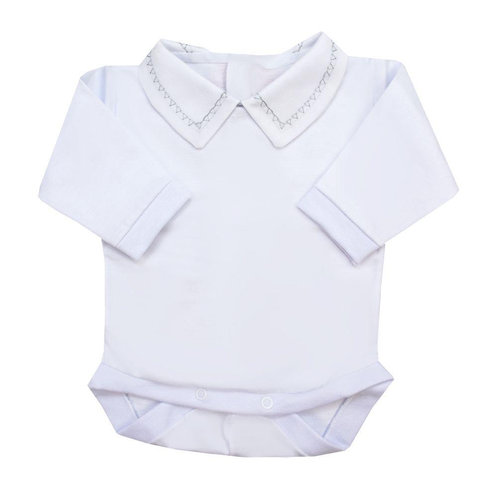 Body bebê triângulo - Branco e cinza