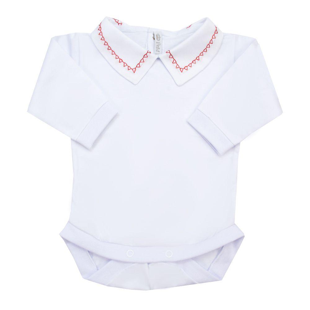 Body bebê triângulo - Branco e vermelho