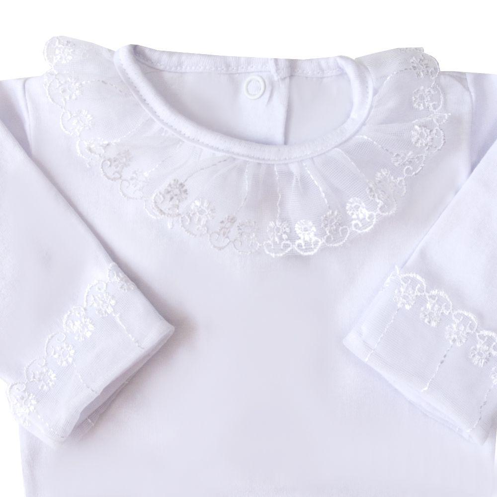Body bebê tule flor - Branco