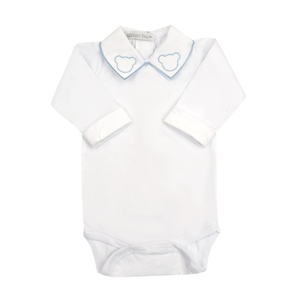 Body bebê ursinho - Branco e azul bebê