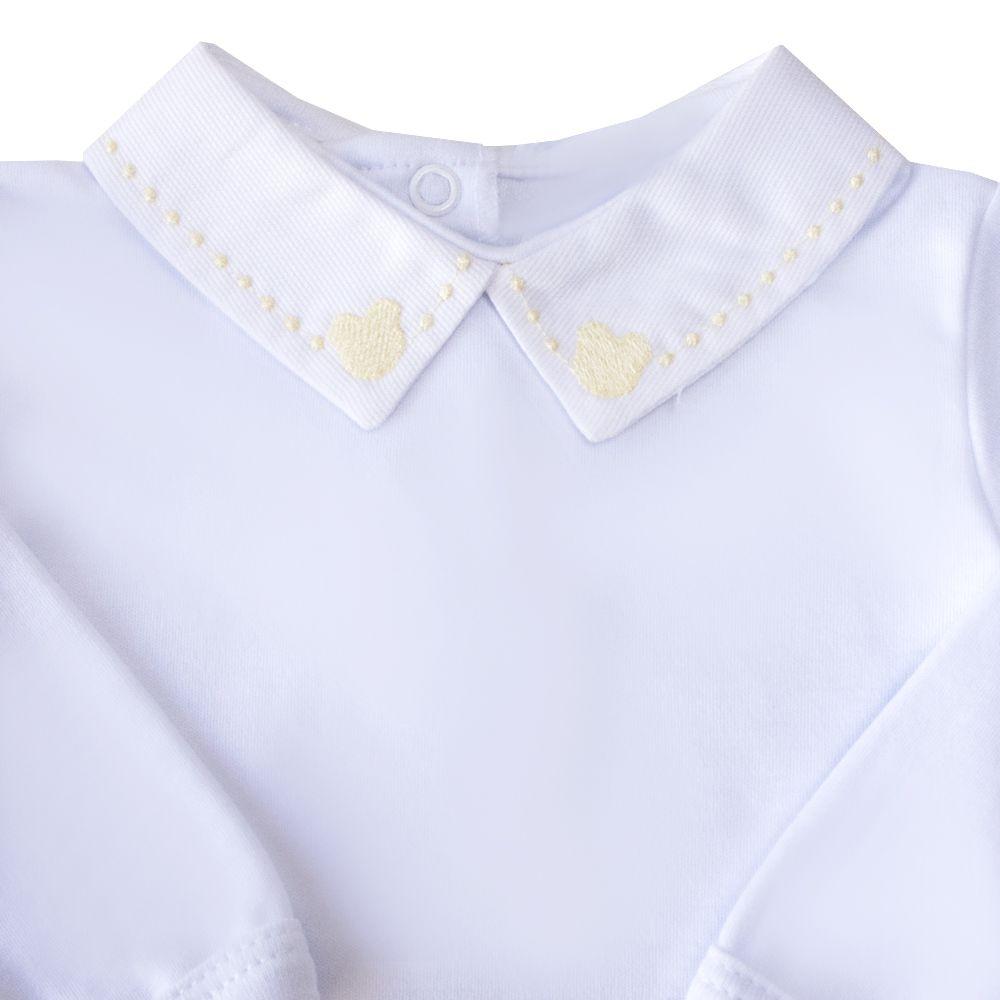 Body bebê ursinho e bolinha - Branco e amarelo